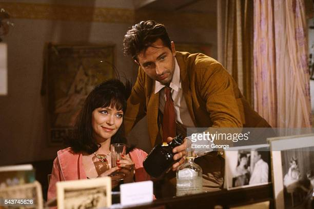 Danishborn actress and singer Anna Karina and French actor Thierry Lhermitte on the set of Dernier ete a Tanger directed by Alexandre Arcady and...