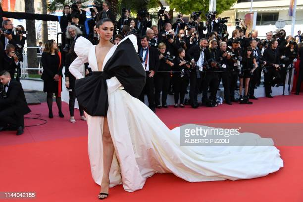 Danishborn Indian actress Deepika Padukone poses as she arrives for the screening of the film Rocketman at the 72nd edition of the Cannes Film...