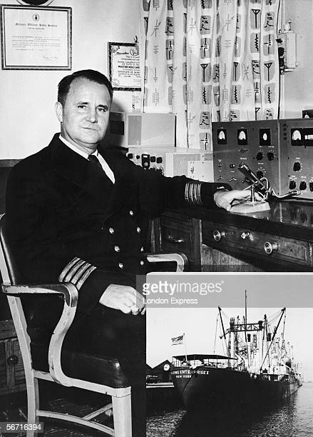 Danish-born sea Captain Henrik Kurt Carlsen sits at the control console in the pilothouse on board the freighter ship The Flying Enterprise II,...