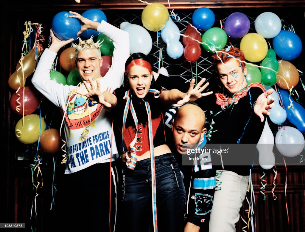 Danish-Norwegian pop group Aqua, 17th October 1997. From left to right, they are guitarist Soren Rasted, vocalists Lene Nystrom and Rene Dif, and keyboardist Claus Norreen.