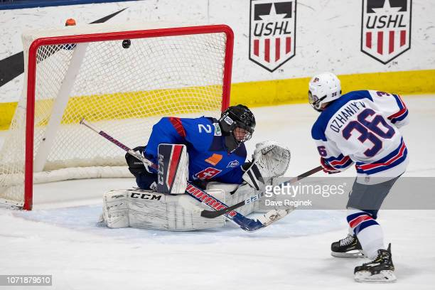 Daniyal Dzhaniyev of the US Nationals scores a third period goal on Ádám Beke of the U17 Slovakia Nationals during game two of the 2018 Under17 Four...