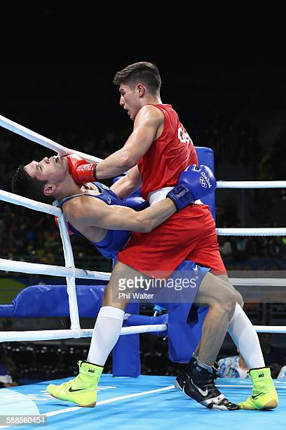 Daniyar Yeleussinov of Kazikstan fights Josh Kelly of Great Britain in their Mens Welterweight bout on Day 6 of the 2016 Rio Olympics at Riocentro...