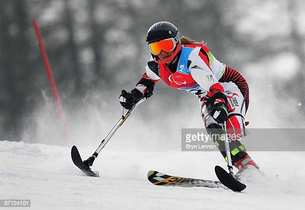 Danja Haslacher of Austria in action during in the Women's Standing Slalom during day eight of the 2006 Paralympic Winter Games on March 18 2006 in...