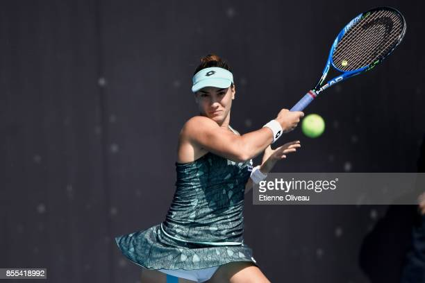 Danka Kovinic of Montenegro plays a forehand against Jennifer Brady of the United States in their Women's qualification match during the 2017 China...