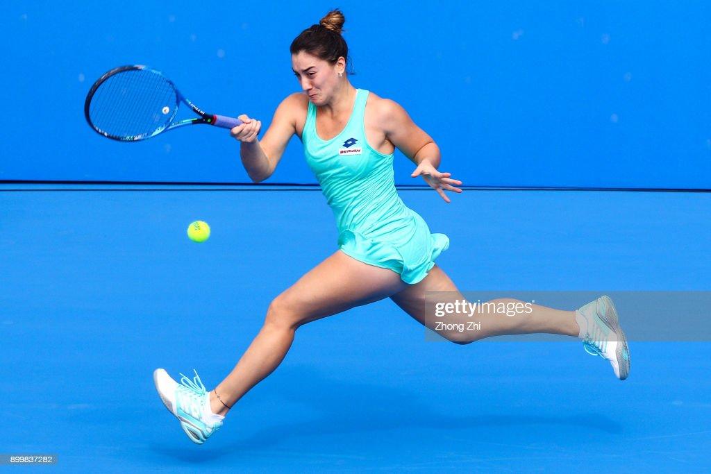Danka Kovinic of Montenegro returns a shot during the qualification match against Yuxuan Zhang of China during 2018 WTA Shenzhen Open at Longgang International Tennis Center on December 30, 2017 in Shenzhen, China.