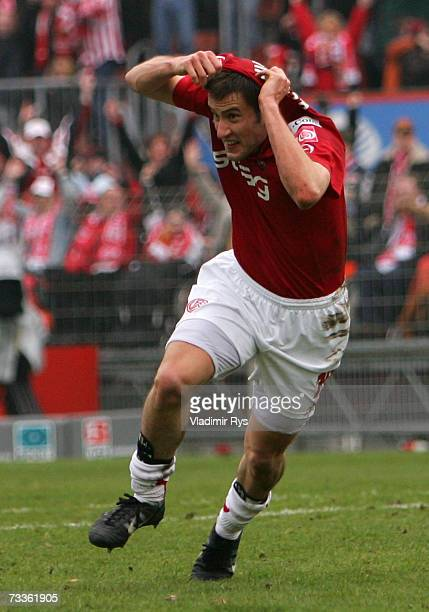 Danko Boskovic celebrates after scoring the second goal of Essen during the Second Bundesliga match between Rot Weiss Essen and 1FC Cologne at the...