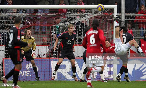 Danko Boskovic of Essen shoots on goal during the Second Bundesliga match between Rot Weiss Essen and 1FC Cologne at the GeorgMelches stadium on...