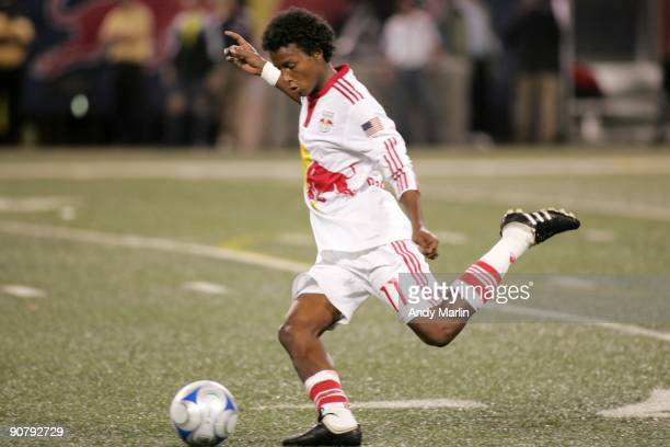 Danleigh Borman of the New York Red Bulls plays the ball against the Kansas City Wizards during their game at Giants Stadium on September 12 2009 in...