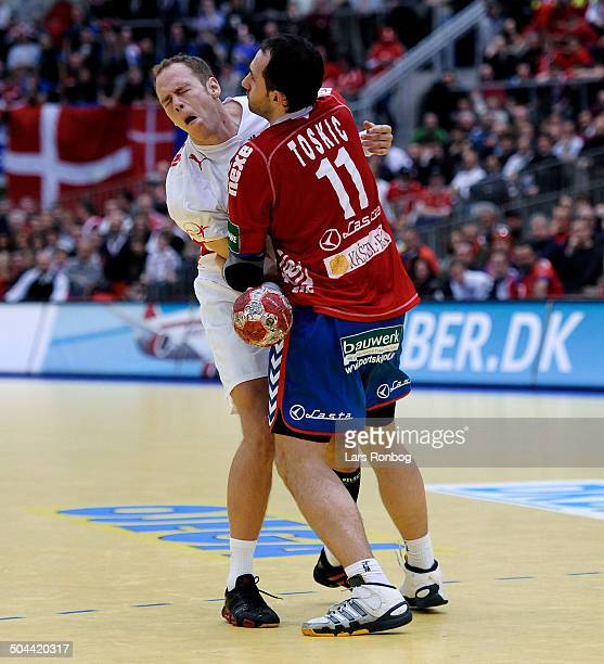 Danmark vs Serbien Mads Ø Nielsen Danmark Alem Toskic Serbien / Serbia © Lars Rønbøg / Frontzonesport
