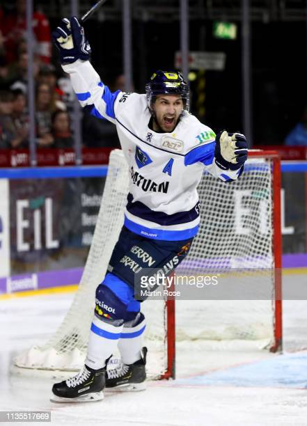 Dann Olver of Ingolstadt celebrates the 2nd goal during the DEL Playoffs Quarter Final game 1 between Koelenr Haie and ERC Ingolstadt at Lanxess...