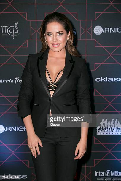 Danna Garcia poses during the red carpet of 'TvyNovelas Most Beautiful' at Carcamo de Dolores on August 31, 2016 in Mexico City, Mexico.