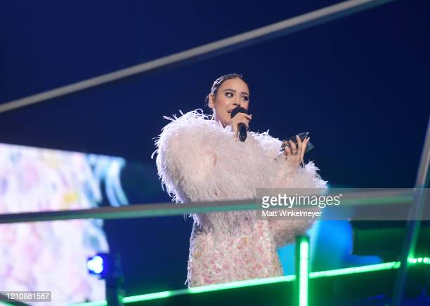 Danna Paola accepts the 'Artista De México Más Escuchado En El Mundo' award onstage during the 2020 Spotify Awards at the Auditorio Nacional on March...