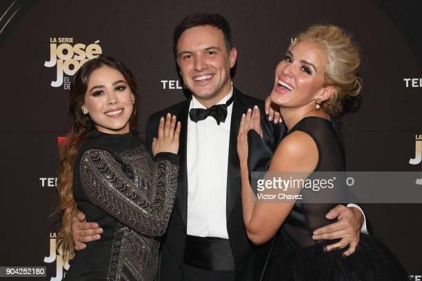 Danna Paola Alejandro de la Madrid and Malillany Marin attend the 'Jose Jose El Principe De La Cancion' Telemundo tv series premiere at Four Seasons...