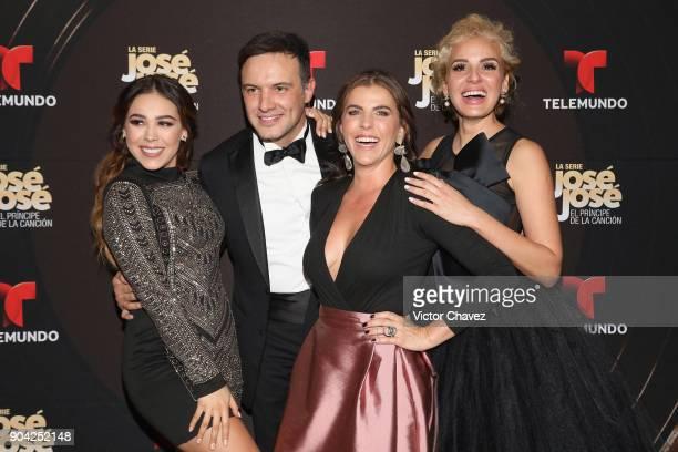 "Danna Paola, Alejandro de la Madrid, Maria Fernanda Yepes and Malillany Marin attend the ""Jose Jose El Principe De La Cancion"" Telemundo tv series..."
