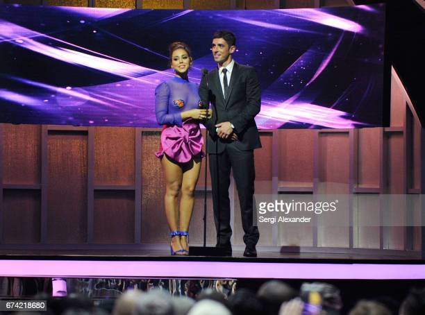 Danna Paola and Alberto Guerra performs onstage at the Billboard Latin Music Awards at Watsco Center on April 27 2017 in Coral Gables Florida