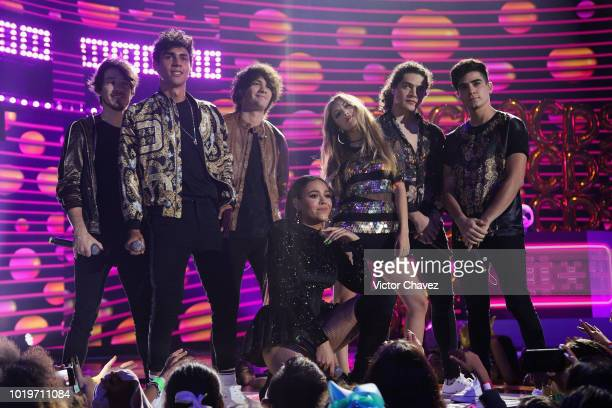 Danna Paola and CD9 perform on stage with Los Polinesios during the Nickelodeon Kids' Choice Awards Mexico 2018 at Auditorio Nacional on August 19...