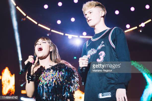 Danna Paola and Harvey Leigh aka HRVY perform on stage during LOS40 Primavera Pop festival at Madrid WiZink Center on May 17 2019 in Madrid Spain