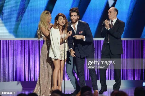 "Danna Paola and Jose Maria Galeano on stage at Telemundo's 2017 ""Premios Tu Mundo"" at American Airlines Arena on August 24, 2017 in Miami, Florida."