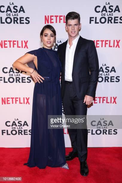 Danna Paola and Miguel Bernardeau pose during the avant premiere of Netflix series La Casa de Las Flores at Cinemex Antara on August 08 2018 in...