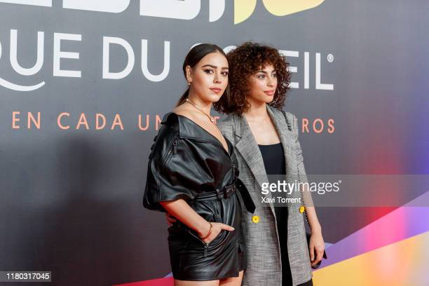 Danna Paola and Mina El Hammani pose on the red carpet during the premiere of 'Messi 10' by Cirque du Soleil on October 10 2019 in Barcelona Spain