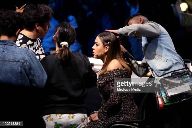 Danna Paola attends the concert of the reality show La Academia at Azteca Tlalpan on February 9 2020 in Mexico City Mexico