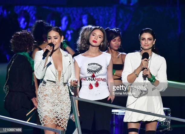 Danna Paola Domelipa and Aislinn Derbez speak onstage during the 2020 Spotify Awards at the Auditorio Nacional on March 05 2020 in Mexico City Mexico