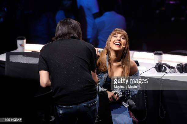 Danna Paola laughs during the 10th concert of La Academia at Azteca Tlalpan on January 12 2020 in Mexico City Mexico