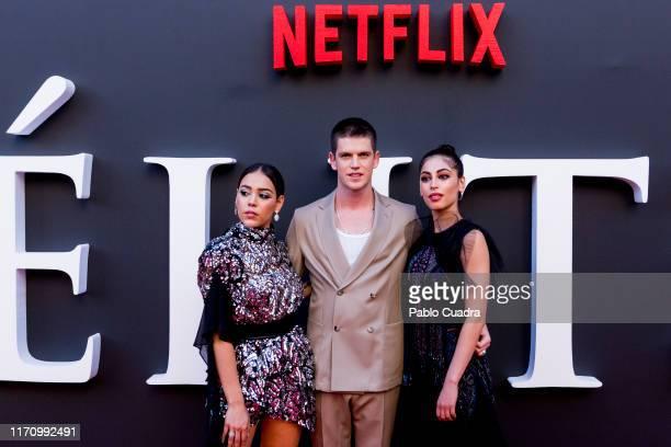 Danna Paola Miguel Bernadeau and Mina El Hammani attend Elite 2nd Season Premiere at Callao Cinema on August 29 2019 in Madrid Spain