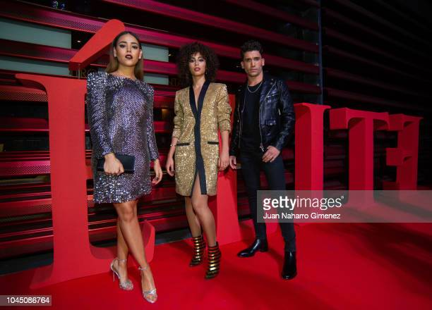 Danna Paola Mina el Hammani and Jaime Lorente attend the World Premiere of Netflixs 'Elite' at Nubel on October 2 2018 in Madrid Spain