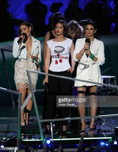 Danna Paola Ángela Aguilar and Aislinn Derbez speak onstage during the 2020 Spotify Awards at the Auditorio Nacional on March 05 2020 in Mexico City...
