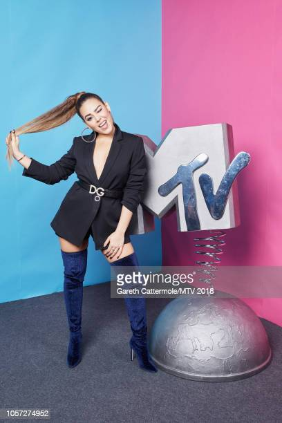 Danna Paola poses at the MTV EMAs 2018 studio at Bilbao Exhibition Centre on November 4 2018 in Bilbao Spain