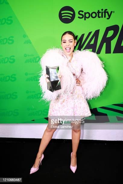 Danna Paola poses with the 'Artista De México Más Escuchado En El Mundo' award onstage during the 2020 Spotify Awards at the Auditorio Nacional on...