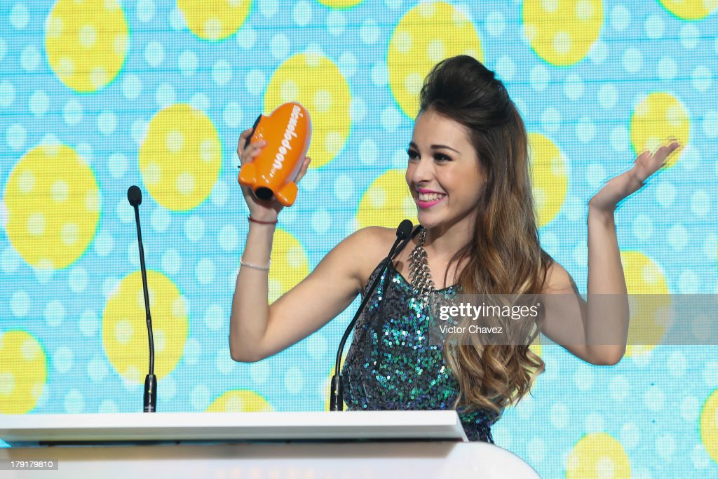 Danna Paola speaks onstage during the Kids Choice Awards Mexico 2013 at Pepsi Center WTC on August 31, 2013 in Mexico City, Mexico.