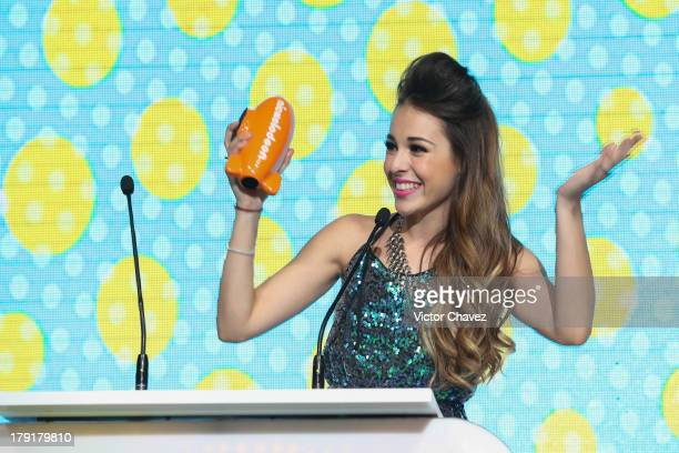 Danna Paola speaks onstage during the Kids Choice Awards Mexico 2013 at Pepsi Center WTC on August 31 2013 in Mexico City Mexico