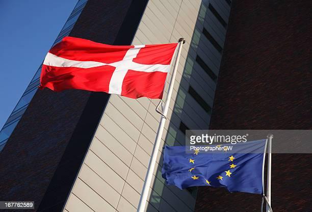 Dannebrog and EU flags