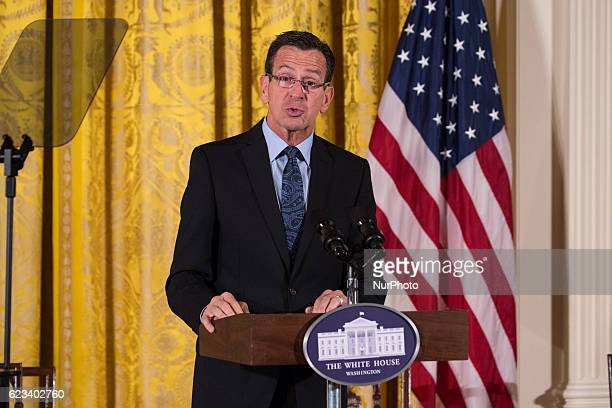 Dannel Malloy 88th and current Governor of Connecticut speaks at First Lady Michelle Obama's Veterans Homelessness Summit on November 14 2016 in...
