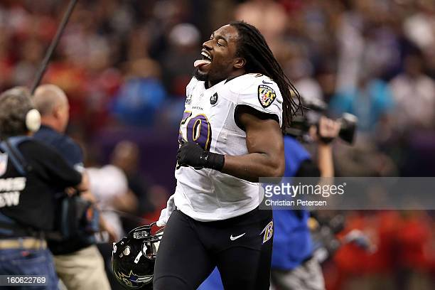 Dannell Ellerbe of the Baltimore Ravens celebrates on the field after they won 3431 against the San Francisco 49ers during Super Bowl XLVII at the...