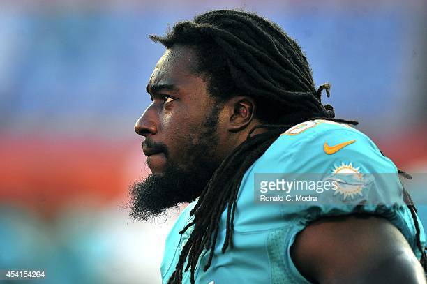 Dannell Ellerbe of the Miami Dolphins looks on during a preseason game against the Dallas Cowboys at Sun Life Stadium on August 23 2014 in Miami...