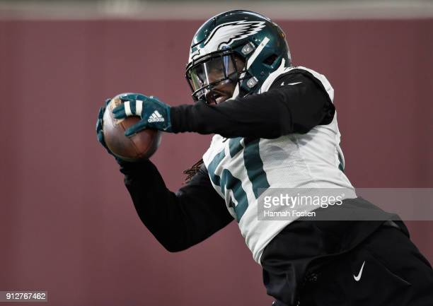 Dannell Ellerbe of the Philadelphia Eagles catches the ball during Super Bowl LII practice on January 31 2018 at the University of Minnesota in...