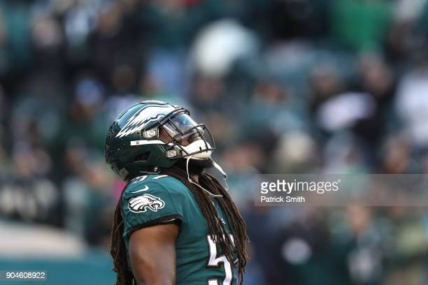 Dannell Ellerbe of the Philadelphia Eagles looks on prior to the NFC Divisional Playoff game against the Atlanta Falcons at Lincoln Financial Field...