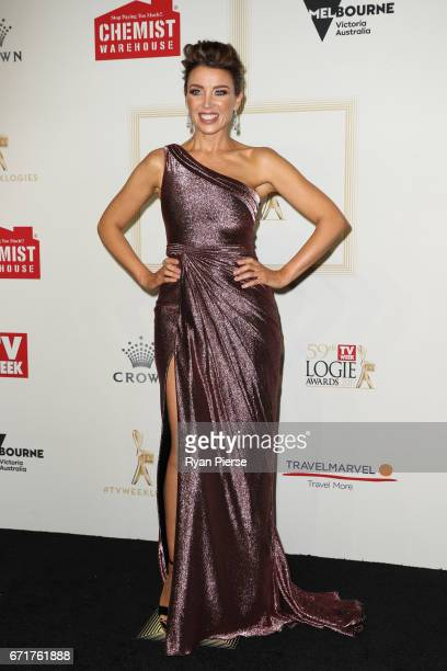 Danni Minogue arrives at the 59th Annual Logie Awards at Crown Palladium on April 23 2017 in Melbourne Australia