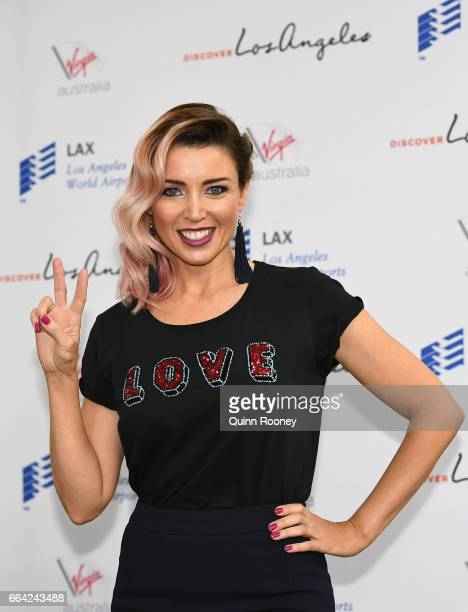 Danni Minogue poses during a press conference announcing Virgin Australia's new Melbourne to Los Angeles flights on April 4 2017 in Melbourne...