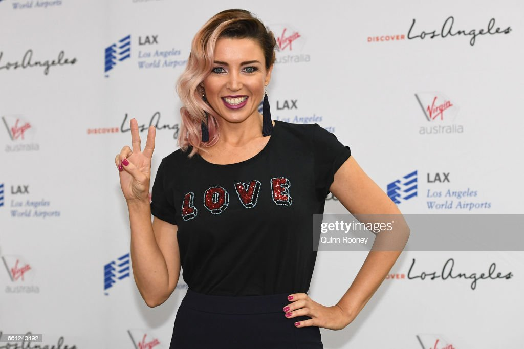 Danni Minogue poses during a press conference announcing Virgin Australia's new Melbourne to Los Angeles flights on April 4, 2017 in Melbourne, Australia.