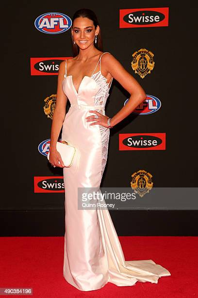Danni Shreeve the partner of Jack Gunston of Hawthorn arrives at the 2015 Brownlow Medal at Crown Palladium on September 28 2015 in Melbourne...