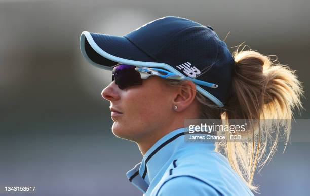 Danni Wyatt of England looks on during the 5th One Day International match between England and New Zealand at The Spitfire Ground on September 26,...