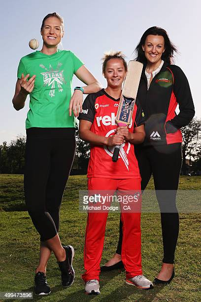 Danni Wyatt of the Renegades poses with Caitlin Bassett and Bianca Chatfield of the Australian Diamonds during the Women's Big Bash League Launch at...
