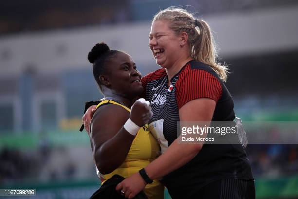 Danniel Thomas of Jamaica and Brittany Crew of Canada celebrate after Women's Shot Put Final on Day 14 of Lima 2019 Pan American Games at Athletics...