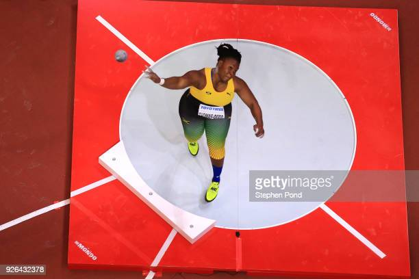 Danniel ThomasDodd of Jamaica competes in the Shot Put Womens Final during the IAAF World Indoor Championships on Day Two at Arena Birmingham on...