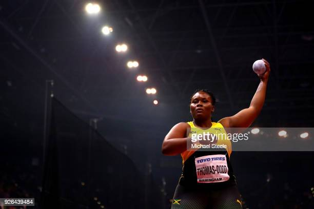 Danniel Thomas-Dodd of Jamaica competes in the Shot Put Womens Final during the IAAF World Indoor Championships on Day Two at Arena Birmingham on...
