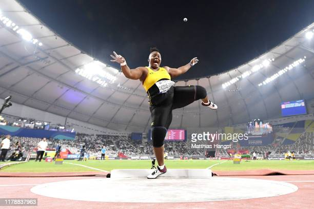 Danniel Thomas-Dodd of Jamaica competes in the Women's Shot Put final during day seven of 17th IAAF World Athletics Championships Doha 2019 at...